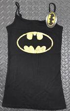 BATMAN Primark Vest T Shirt BLACK YELLOW CLASSIC Womens Ladies UK Sizes 4-20
