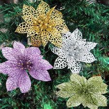 "2X 6"" Christmas Flowers Xmas Tree Decor Glitter Hollow Wedding Party  Beauty ^G"