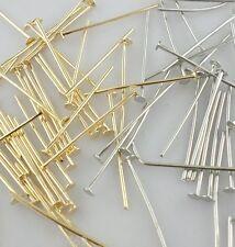 400/3000pcs DIY Crafts Jewelry Earring Flat Head Pins Gold/Dark Silver 24/28mm