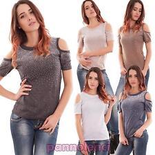 Maglia donna maglietta top aperture spalle strass maniche corte nuova YE1190