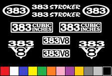 383 V8 POWERED 10 DECAL SET ENGINE STICKERS EMBLEMS 350 400 STROKER VINYL DECALS
