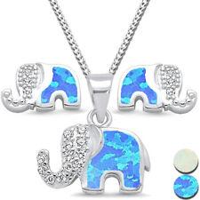 3er SET Elefant Ohrringe Anhänger Kette 925 Echt Silber für Kinder Mädchen Damen