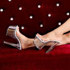 Sexy Shoes Disk Sandals Dancer Lap Dance Transparent Heel 15 cm Plateau 5 Cm