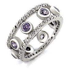 9W078 OPEN AMETHYST BEZEL SET & PAVE  SIMULATED DIAMOND RING WOMENS ETERNITY