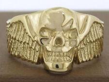 MR25 Genuine 9ct,14K or 18K Real Gold Detailed Winged Skull Biker Ring your size