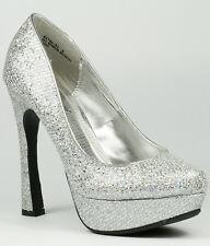 Silver Glitter Round Toe High Heel Platform Pump 6.5 us Anne Michelle Rival-01