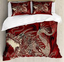 Eastern Duvet Cover Set with Pillow Shams Japanese Dragon Doodle Print