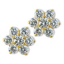 FLOWER WHITE SAPPHIRE SCREW BACK EARRINGS 14K YELLOW OR WHITE GOLD BABY CHILDREN