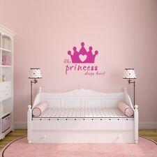 The Princess Sleeps Here Wall Decal - Nursery, Kids, Bedroom, Fairy Tale, Crown