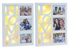 Bilderrahmen LED Fotorahmen  Weiß Holz Rahmen Collage Bilder Galerie Rahmen
