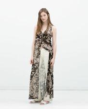 ZARA Floral Printed Long Maxi Tunic Dress Sheer Waistcoat With Slits 2616/582 S