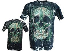 Cráneo cannabis marihuana hoja de marihuana Brillan en Oscuridad Tatuaje Gótico Tye Dye T-Shirt