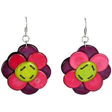 NEW! Fuschcia/Purple Tagua Nut Pirced Earrings Handmade in Colombia Fair Trade