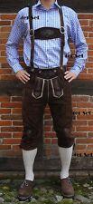 4er Set Trachten Lederhose Baumwoll Hemd in lila weiss Trachtenstrümpfe Neu