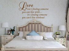 HAND Carving LOVE trovare qualcuno parole preventivo Muro ARTE Adesivo UK DECO rui191