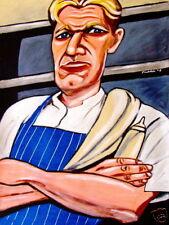 GORDON RAMSAY PRINT poster hell's kitchen cookbook tv series butcher knife apron