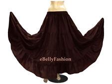 Coffee Cotton 4 Tiered 6 Yard Skirt Maxi Belly Dance Gypsy Flamenco Tribal Jupe
