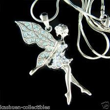 w Swarovski Austrian Crystal Fairy Blue TINKERBELL Tinker Angel Pendant Necklace