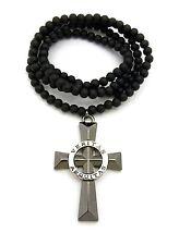 "Veritas Aequitas Ring Cross Pendant 6mm 30"" Wooden Bead Chain Hip Hop Necklace"