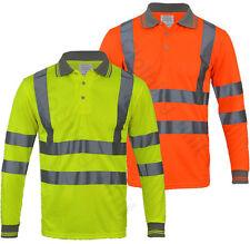 Hi Vis High Viz Visibility Long Sleeve Safety Work Polo T Shirt EN471 S-5XL