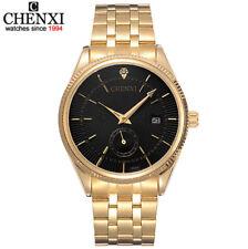CHENXI reloj hombre acero dorado de cuarzo con día y esfera de segundero aparte