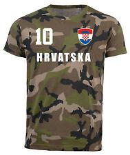 Kroatien Camouflage T-Shirt WM 2018 Trikot Style Fußball Nummer ALL 10