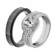 His & Hers Stainless Steel Round Wedding Ring Sets Tungsten Men LQ