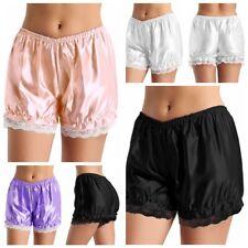 Women's Ruffle Satin Shiny Pumpkin Bloomers Shorts Pants Hem Security Boyshorts
