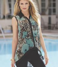 Nadia Animal-Print Top Midnight Velvet Blouse Tunic Summer Beach Cruise Size S L