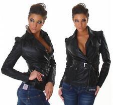 Womens Leather Look Jacket Sexy Biker Zip Belt Jacket size 6 8 10 12