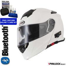 VCAN BLINC V271 BLUETOOTH FLIP FRONT MOTORCYCLE HELMET MP3 SAT NAV WHITE