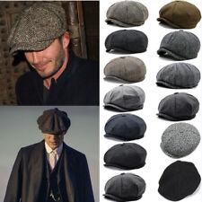 Mens Peak Cap Grey Herringbone Newsboy Bakerboy Peaky Blinders Style Gatsby Hat