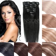 Clip In Extensions Set Remy Echthaar 35cm- 60cm Haarverlängerung 8 Tressen glatt