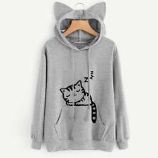 Cat Womens Cat Ear Long Sleeve Hoodie Sweatshirt Pullover Tops Blouse Coat GIRL