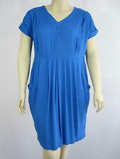 Autograph Ladies ES Contrast Cap Sleve Dress sizes 14 16 18 20 22 24 26 Blue