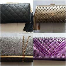 Ladies Clutch Box Womens Fashion Faux Leather Crystal Rhinestone Evening Clutch
