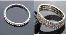 Argento Strass in Cristallo Diamante Fashion WEDDING STRETCH BRACCIALE Singolo / 3 Righe