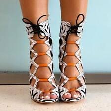 Women's High Heel Shoes Peep Toe Lace up Hollow Stiletto Nightclub Strap Sandals