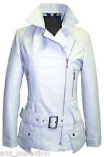 Boston Blanc Femmes Créateur Mode Souple Cuir D'agneau Veste Courte