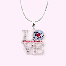 NFL Kansas City Chiefs 925 Sterling Silver Team Logo Love Necklace W/Rhinestones