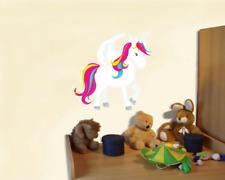 Einhorn Wandtattoo Wandaufkleber Kinderzimmer bunt  4 Größen