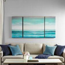 Luxury 3pc Teal Blue Coastal Tides Ocean Horizon Canvas Wall Art