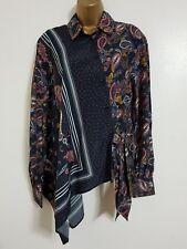 NEW WAREHOUSE 6-16 Paisley Print Asymmetrical Tie Black Shirt Blouse Tunic Top