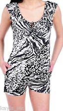 Black/White Zebra/Leopard Shorts Romper/Jumper/Cat Suit