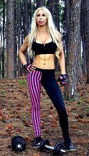 Full Length Pink Stripe Leggings S M L Gym Womens Ladies Yoga Pant Fitness Tight