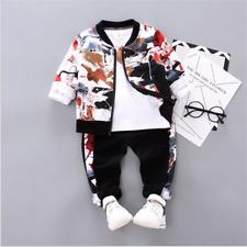 3pcs Child Boys Casual Sport Clothing Sets Zipper Coat+Tops+Pants Korean Outfits