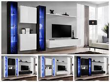 salón modular de PARED Estantería Interruptor XVI Alto Brillo Pvc pushclick LED