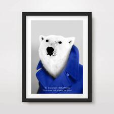 POLAR BEAR ANIMAL ART PRINT POSTER Human Body Head Portrait Funny Quirky Blue
