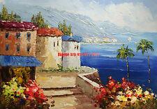 "12x16""(31x41cm)100% hand painted oil flat, Mediterranean , Ocean , Palm Tree"