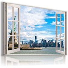"""3D Nueva York ventana de visualización de LONA pared arte Foto Gran Tamaño 30X20"""" W11"""